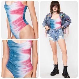NWOT- Dolls Kill Euphoric Frenzy Tie Dye Bodysuit